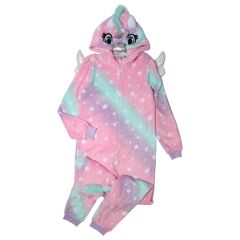 Women's Plush Unicorn Onesie Pink