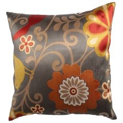 Satin Floral Decorative Cushion 18in
