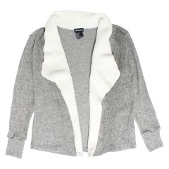 Sweaterette Women's Cardigan With Sherpa Lined Collar Grey