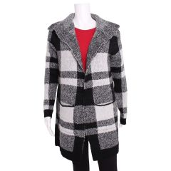Guilty Plaid Open Front Collared Cardigan Black