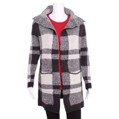 Guilty Plaid Open Front Collared Cardigan Charcoal