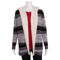 Guilty Knitwear Hooded Cardigan with Sherpa Trim