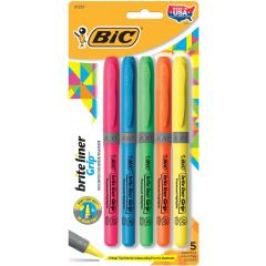 BIC Brite Liner Grip Highlighters Assorted 5Pk