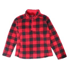 Women's Buffalo Plaid Sherpa Pullover Jacket Red