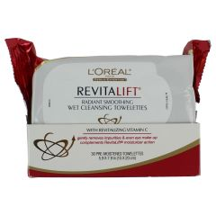 L'Oreal Paris RevitaLift Radiant Smoothing Wet Facial Cleansing Towelettes 30Pk