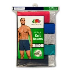 Fruit of the Loom Relaxed Fit Knit Boxers Medium 5Pk Assorted