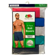 Fruit of the Loom Relaxed Fit Knit Boxers Large 5Pk Assorted