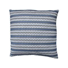 Jacquard Stripe Decorative Cushion Blue 18in