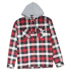NXT Gen Hooded Buffalo Plaid Flannel Shirt With Snaps Red