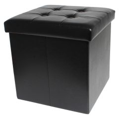Square Storage Ottoman Black 15in