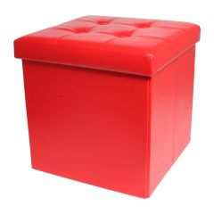 Square Storage Ottoman Red 15in