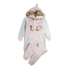 Women's Fur Trim Plush Onesie Pink