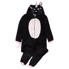 Women's Plush Cat Onesie Black