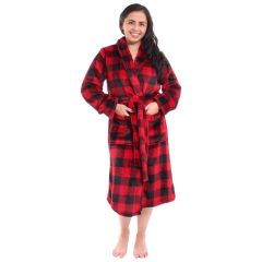 Women's Plush Buffalo Plaid Robe Red