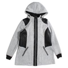PSG Collection Women's Plus Size Bonded Jacket With Hood Grey