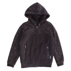 NXT GEN Boys Plush Zip Front Hoodie Two Tone Black Size 8-16