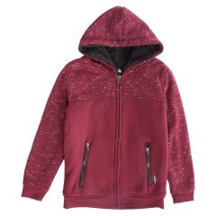 NXT GEN Boys Plush Zip Front Hoodie Two Tone Red Size 8-16