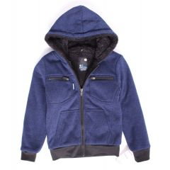 NXT GEN Boys Plush Zip Front Pocket Hoodie Navy Blue Size 4-6X