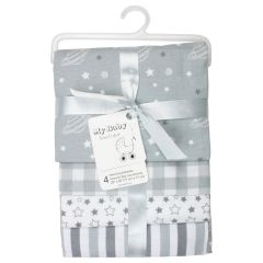 My Baby Boutique Receiving Blankets Stars & Planets 4Pk