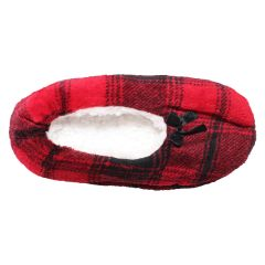 Plush Sherpa Lined Plaid Ballerina Slippers Red