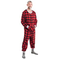Men's Plush Onesie Buffalo Plaid Red & Black