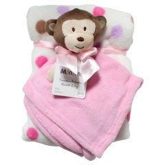Pink Baby Blanket Set With Monkey Toy