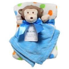 Blue Baby Blanket Set With Monkey Toy