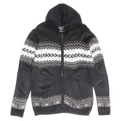 Guiltyman Zip Up Hooded Fair Isle Knit Sweater
