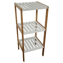 Three Tier Bamboo Shelf White