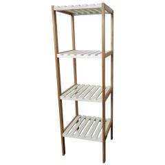 Four Tier Bamboo Shelf White