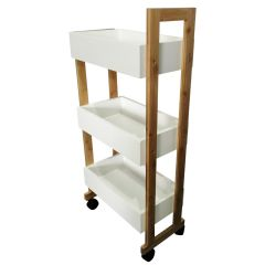 Three Tier Rolling Storage Cart White