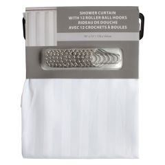 Home Essentials Striped Fabric Shower Curtain and Hook Set