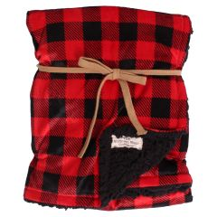 The Northern Wear Company Buffalo Plaid Sherpa Lined Fleece Baby Blanket Red