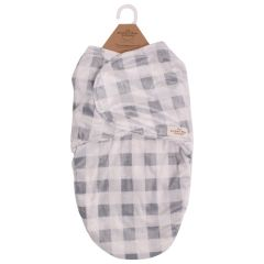 The Northern Wear Company Buffalo Plaid Infant Swaddle Bag Grey