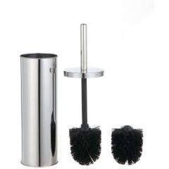 Toilet Brush Holder With Two Brush Heads Chrome