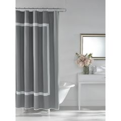 Hotel Style Cotton Shower Curtain Grey 72 x 72in