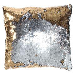 Sequin Decorative Cushion Gold & Silver 17in