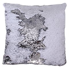 Sequin Decorative Cushion Silver 17in