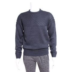 A.M. London Crew Neck Cable Knit Sweater Navy