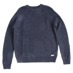 A.M. London Crew Neck Cable Knit Wool Sweater Navy
