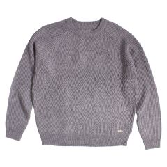 A.M. London Crew Neck Cable Knit Wool Sweater Grey