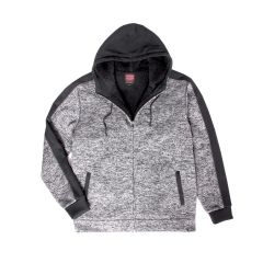 Burnside Men's Fleece Lined Two Tone Zip Up Hoodie Black & Charcoal