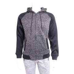 Burnside Raglan Zip Up Hoodie Black & Charcoal