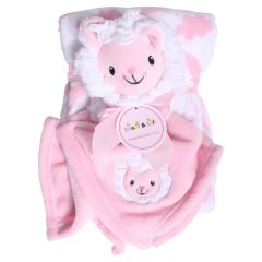 Sweet & Soft Unisex Infant Plush Blanket With Toy Pink Lamb