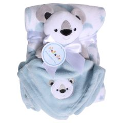 Sweet & Soft Unisex Infant Plush Blanket With Toy Grey Koala