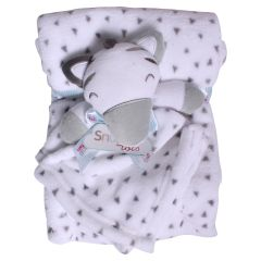 Sweet & Soft Unisex Infant Plush Blanket With Toy Grey Zebra