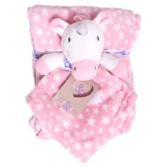 Sweet & Soft Unisex Infant Plush Blanket With Toy Pink Unicorn