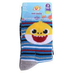 Boys Baby Shark Crew Socks Size 4-6 3Pk