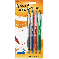 BIC Atlantis Retractable Ball Pens Assorted 4Pk