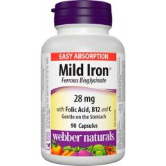 Webber Naturals Mild Iron Ferous Bisglycinate 28 mg - Easy Absorption
